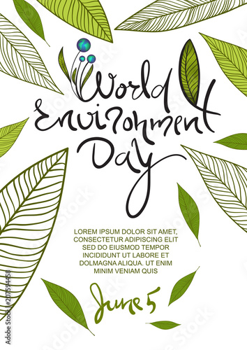World Environment Day poster. 5 June lettering with leaves decor. Vector illustration