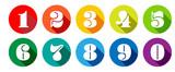 Chiffres 0 à 9 dans cercle multicolores - 207598871