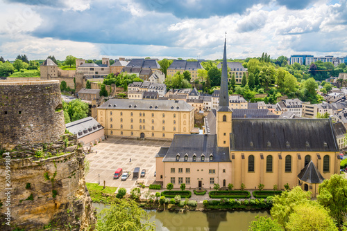 Foto Murales View at the church of Saint Jean du Gard with abbey, Luxembourg City
