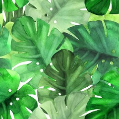 Seamless green tropical pattern. Watercolor illustration