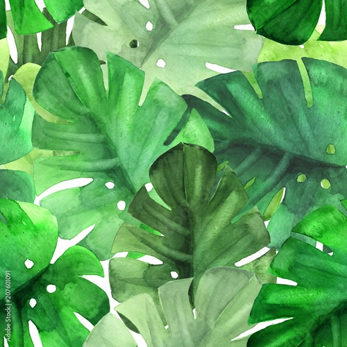 Seamless green tropical pattern. Watercolor illustration © Gribanessa