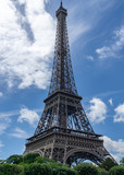 eiffel tower in paris with blue sky