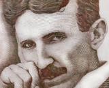 World famous inventor Nikola Tesla portrait close up on Serbian banknote