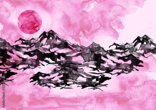 Fotobehang Purper Watercolor painting. Nature, mountains, countryside, black silhouette of mountains. Red, pink sun, sunset, dawn. Pink sky, splash of paint. Postcard, picture, poster, logo. Graphic, vintage drawing.