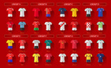 Soccer World Championship 2018 All Home Jerseys Layered Vector Set