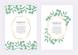 Wedding invitation, polygonal geometric frame, golden lines with leaves eucalyptus on the marble texture. Botanical design template for save the date, banner, poster, card, placard, flyer, invite - 207606441