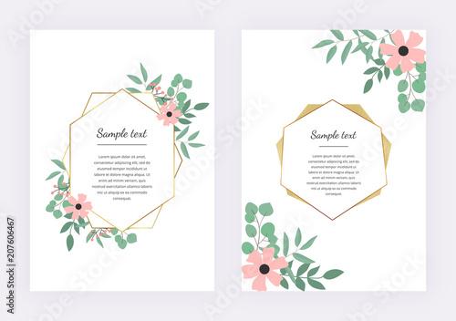 Wedding invitation with polygonal geometric frame golden lines with wedding invitation with polygonal geometric frame golden lines with leaves eucalyptus botanical design template maxwellsz