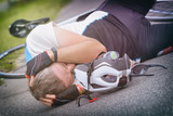 Bicycle accident, cyclist lying on the road - 207613047