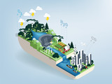 Fototapety illustration vector isometric design concept of water cycle and city pollution