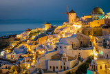 blue hour at night Santorini Oia Greece