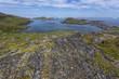rocks along coastline of Fogo Island, Newfoundland; distant icebergs