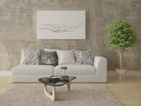 Mock up a bright living room with a compact comfortable sofa and hipster background. - 207627087