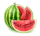 Watermelon cut into slices isolated on white background with clipping path
