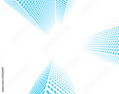 High office buildings vector graphic. Abstract low angle view city background isolated on white. - 207629097