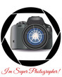 A realistic modern camera in the frame of the camera's diaphragm. Concept photography, vocations, photo business