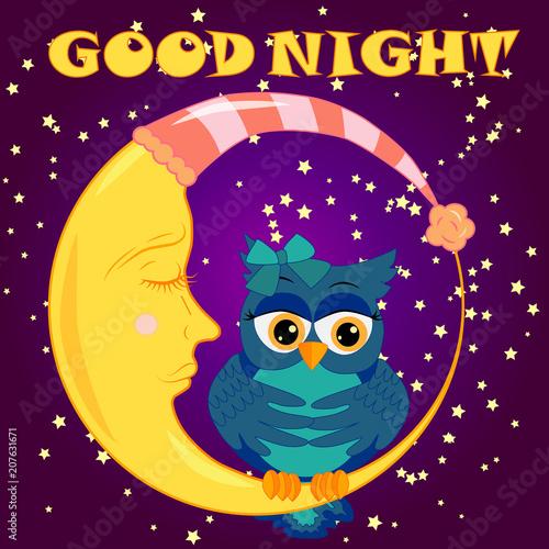 Aluminium Uilen cartoon Good night. Card with cute sleeping owl. Vector illustration.