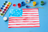 The child painted the American flag - 207631864