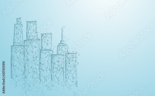 Building and City form lines,  triangles and particle style design. Illustration vector - 207633814