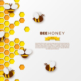 Bee with honeycombs, paper cut ctyle. Template design for beekiping and honey product, white background, vector illustration.