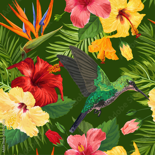 Floral Tropical Seamless Pattern with Exotic Flowers and Humming Bird. Blooming Flowers, Birds and Palm Leaves Background for Fabric, Wallpaper, Textile. Vector illustration - 207637248