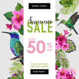 Summer Sale Banner with Tropical Flowers and Humming Birds. Floral Template for Promo, Discount Flyer, Voucher, Advertising. Vector illustration - 207637607