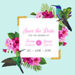 Wedding Invitation with Blooming Tropical Flowers and Hummingbirds. Save the Date Floral Card with Exotic Birds and Golden Frame. Vector illustration - 207637875