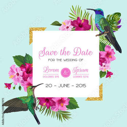 Wedding Invitation with Blooming Tropical Flowers and Hummingbirds. Save the Date Floral Card with Exotic Birds and Golden Frame. Vector illustration