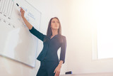 Female professional tutor explaining diagram drawn on white board