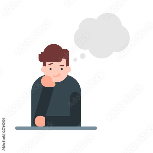 Thinking man with thought bubble vector illustration