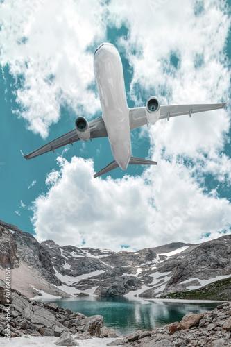 Passenger airplane in the clouds. Black Lake ( Karagol ) in Turkey.