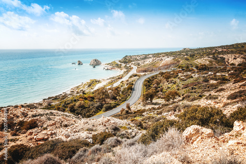 Fotobehang Cyprus Beautiful seascape, blue sea and sky, popular destination for summer holidays in Europe, Cyprus, Aphrodite Hills