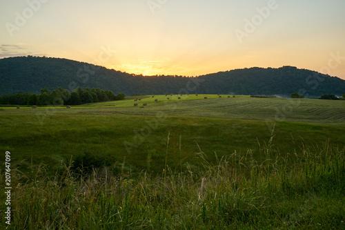Fotobehang Beige Sunrise On The Farm
