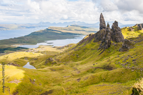 Aluminium Honing beautiful mountain landscape in Scotland Old Man of Storr