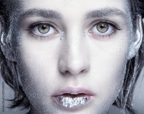 Closeup beauty portrait of young woman face - 207648613