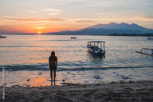 Aluminium Strand Girl on the beach in Gili Air