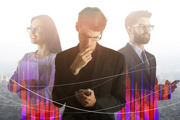 Teamwork, finance and meeting concept