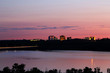 Sunset over Bloomington, Minnesota with the Mississippi River in foreground.