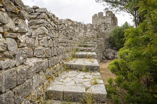 defensive wall of Sesimbra castle, Setubal district, Portugal