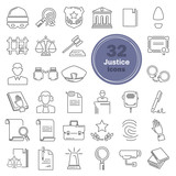 Justice and court line icons set - 207655059