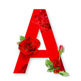 Letter A of the alphabet with red roses on white background - 207659616