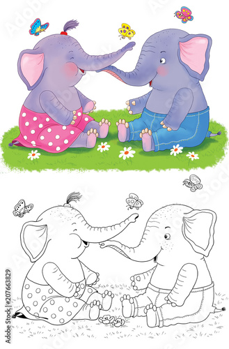 Cute and funny animals. Cartoon characters. Coloring page. Illustration for children