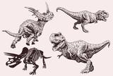 Graphical set of dinosaurs ,vintage illustration,sepia