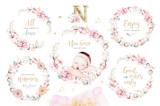 Cute newborn watercolor baby. New born child illustration girl and boy painting. Baby shower isolated birthday painting card. - 207668452