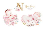 Cute newborn watercolor baby. New born child illustration girl and boy painting. Baby shower isolated birthday painting card. - 207668655
