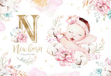 Cute newborn watercolor baby. New born child illustration girl and boy painting. Baby shower isolated birthday painting card. - 207668845