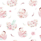 Cute newborn watercolor baby pattern. New born dream sleeping child illustration girl and boy patterns. Baby shower birthday painting backgraund painting. - 207669031