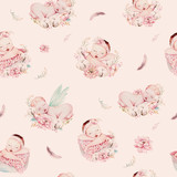 Cute newborn watercolor baby pattern. New born dream sleeping child illustration girl and boy patterns. Baby shower birthday painting backgraund painting. - 207669065