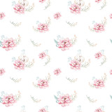 Watercolor seamless floral pattern with cotton. Bohemian natural patterns: leaves, feathers, flowers, rose boho white background. Artistic decoration illustration. Textile design - 207669272