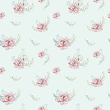 Watercolor seamless floral pattern with cotton. Bohemian natural patterns: leaves, feathers, flowers, rose boho white background. Artistic decoration illustration. Textile design - 207669408