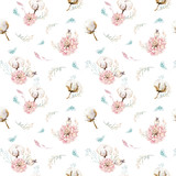 Watercolor seamless floral pattern with cotton. Bohemian natural patterns: leaves, feathers, flowers, rose boho white background. Artistic decoration illustration. Textile design - 207669473